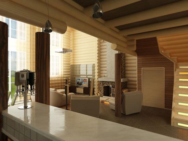 дизайн интерьер деревянного дома внутри фото